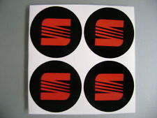 4x 90 mm fits seat wheel STICKERS center badge centre trim cap alloy red