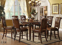 NEW 9PC WINFIELD FORMAL BROWN CHERRY FINISH WOOD COUNTER DINING TABLE SET