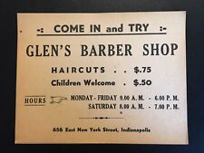 1920's Glens Haircut Paper Advertising  Sign - Indianapolis, Indiana