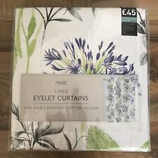"Next Illustrative Fusion Floral Print Eyelet Curtains 53"" x 54"" New"