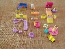 Vintage Tiny Dreams Polly Pocket Mini Dollhouse Blue Box Furniture Lot #4