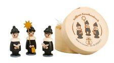 Spanschachtel 3 Kurrendefiguren - schwarz  3,7cm Kurrende NEU Seiffen Erzgebirge