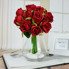 New 12Head Silk Red Rose Flowers Floral Bridal Wedding Bouquet Home Party Decor