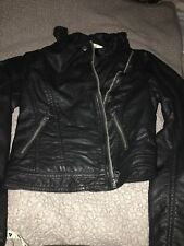 Abercrombie Kids Small , Size 10 Girls Black Leather Motorcycle Jacket, Bomber