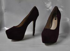 """Shoemint """"Lydia"""" dark wine suede hi-heel platform pump - Size 11, 6"""" heel - New"""