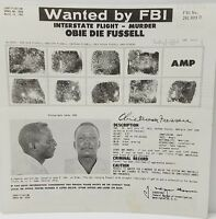 FBI Wanted Poster OBIE DIE FUSSELL 1962 Original for Murder