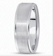6mm 14K Solid White Gold Brushed Center Design Comfort Fit Wedding Band Size 7