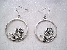 LARGE HEART ROSE HOOP SP Drop Earrings Gift Bag TATTOO VALENTINE Gift Bag