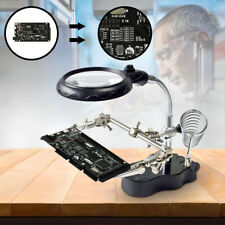 New Soldering Iron Stand & LED Helping Hands Magnifying Glass & Clip