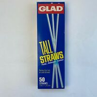 Vintage Sealed Box Of 50 Glad Tall Plastic Straws Advertising Kitchen Set Prop