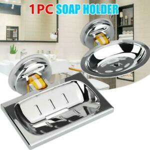 Soap Dish Basket Wall Mounted Suction Holder Bath Shower Storage Tray Plate 1 PC