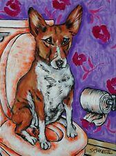 Basenji in the bathroom art dog print 13x19 glossy finish