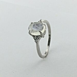 Size 9 1/2 - Size 9.5 Blazing Rainbow MOONSTONE Ring CZ 925 STERLING SILVER #571