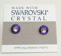 Gray Purple Round Stud Earrings 6mm Crystal Made with Swarovski Elements AB