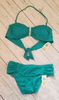 NWT Bar III Swimsuit Bikini 2pc Set Size S Teal Green  Bandeau