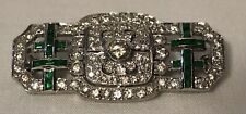 18K White Gold Emerald and Diamond Art Deco Brooch Pin