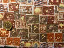 Fat Quarter di cotone popeline con francobolli in Marrone