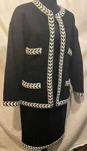 Chanel Boutique VTG Black/ White Chevron Wool Blazer Skirt Suit Set Sz 40