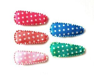 36 pcs Mix Colors Dot Cotton Hair Clip Covers Size 35 mm Pink Blue Green