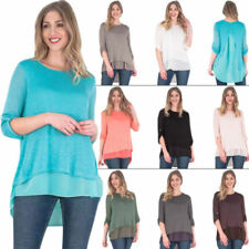 Patternless 3/4 Sleeve Tops & Shirts for Women with Buttons