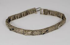 Antique Estate Art Deco Filgree Bracelet Diamond Sapphire 14k WG