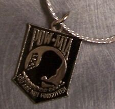 "Military Necklace POW MIA 18"" plated chain NEW"