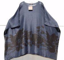 "NWT Eskandar NAVY ABSTRACT FLORAL Linen Silk Oversize 36"" Kaftan Tunic (0) $1290"