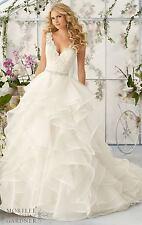 2017 White/Ivory Sleeveless Wedding Dresses Ruffled Organza A-Line Bridal Gown