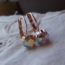 8mm Cup Chain AURORA BOREALIS/ROSE GOLD EARRINGS Handmade w/Swarovski Crystals