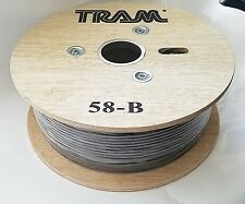 Low Loss Coaxial Cable RG58A/U Stranded Copper Center, 500' feet Reel, Tram 58B