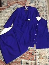 Jones New York Royal Blue Purple SILK 3pc Suit Jacket Blouse Skirt 16W