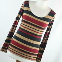George Womens Size 12 Red Striped Basic Tee
