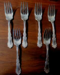 6 Rogers International 1907 Anchor AA ALHAMBRA Silver Plate Chased Salad Forks