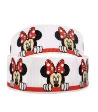 By The Yard 1 Inch Disney Minnie Mouse Peeking Grosgrain Ribbon Lisa