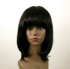 perruque AFRO femme 100% cheveux mi longue naturel noir ISA 01/1b