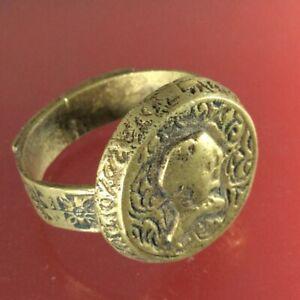 RARE Authenic Old ISLAMIC Old Bronze Ring Muslim Persian Antique Handmade Amulet
