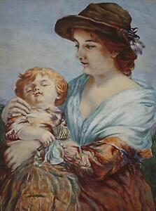 Charming Watercolour Portrait Study Mother and Child Signed L. Lamotte 1877