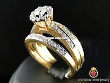 Engagement Wedding Fabulous Bridal 3 PCS Ring Set Diamond Yellow Gold Over