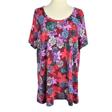 Lularoe Womens 3XL Classic Tee Top Relaxed Stretch Roses Scoop Neck SS Red