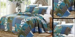 Quilted Bedspread Reversible  printed throw + 2 pillow summer weight Double/king