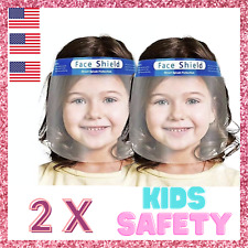 2 Pack Kids Boys Girls Face Shield Reusable Washable Safety Clear Anti Fog Mask