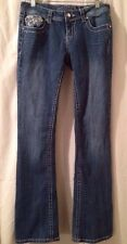 Grace In LA 30x33 Rhinestone Blue Jeans BLING Low Rise Boot Cut Stretch