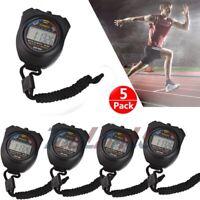 5PCS SET Chronograph Date Timer Odometer Digital Stopwatch Sports Counter Watch