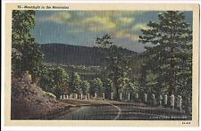 Moonlight in Mountains PA Postcard Vintage Linen Pennsylvania Road Scene RT 309