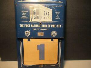 Vintage Bank Calendar Old Advertising Banking Metal Perpetual Flip Pine City MN