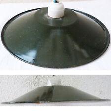 ABAT-JOUR METAL EMAIL VERT BASQUE DOUILLE D'AMPOULE PORCELAINE DIAMETRE 24cm<<>>