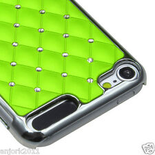 Apple iPod Touch 5 SILVER PLATING LATTICE COVER CASE SPOT DIAMONDS GREEN