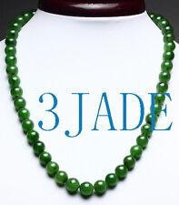 A Grade Natural Siberian Green Nephrite Jade Beads Necklace w/ certificate