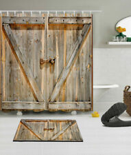 Rustic Wooden Barn Door Waterproof Fabric Shower Curtain Set Bathroom Accessory