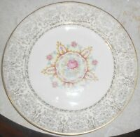 Vintage PADEN CITY POTTERY American Rose 10-7/8 Inch DINNER PLATE 22-K Gold Trim